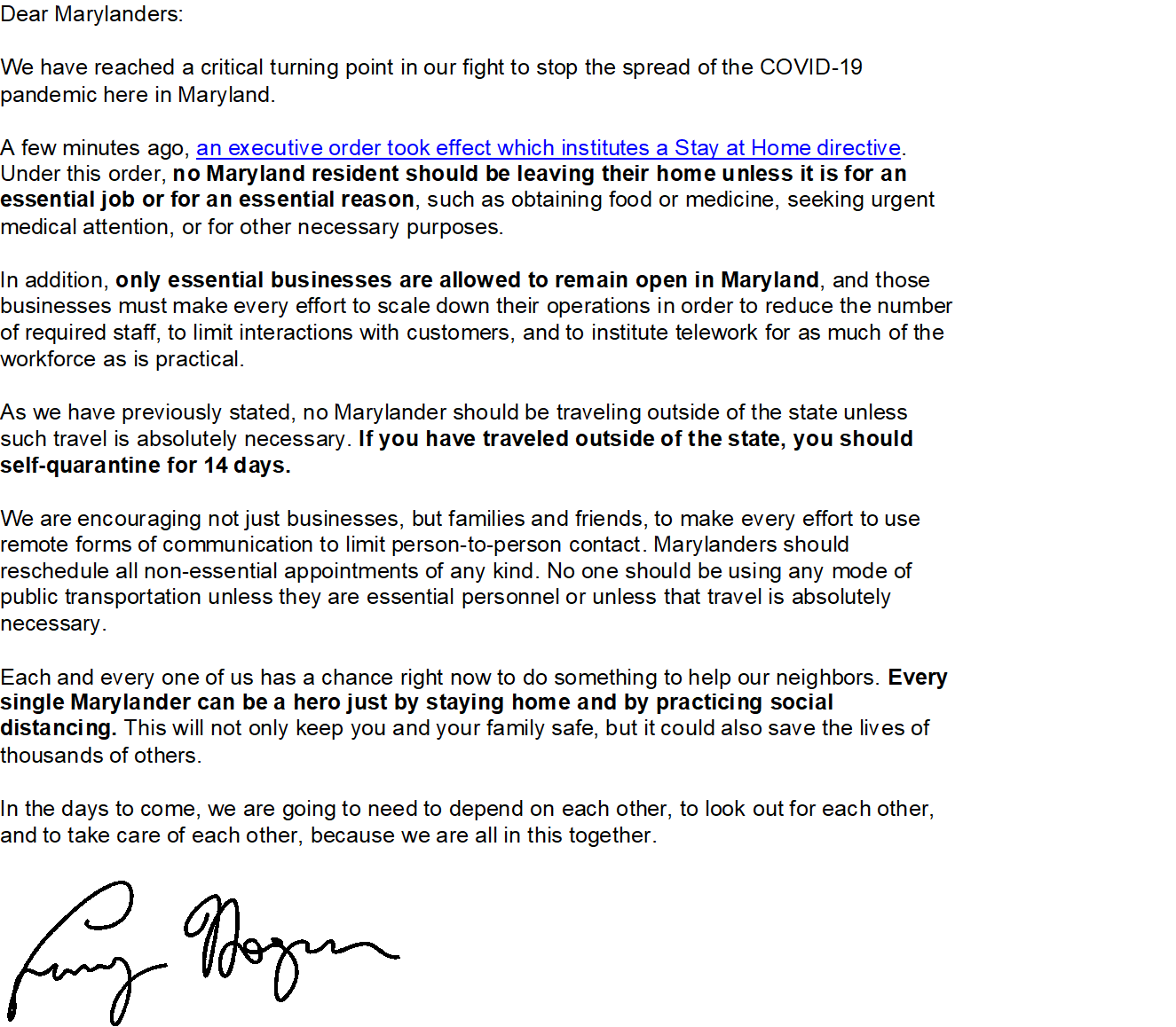 UPDATE FROM GOV HOGAN2