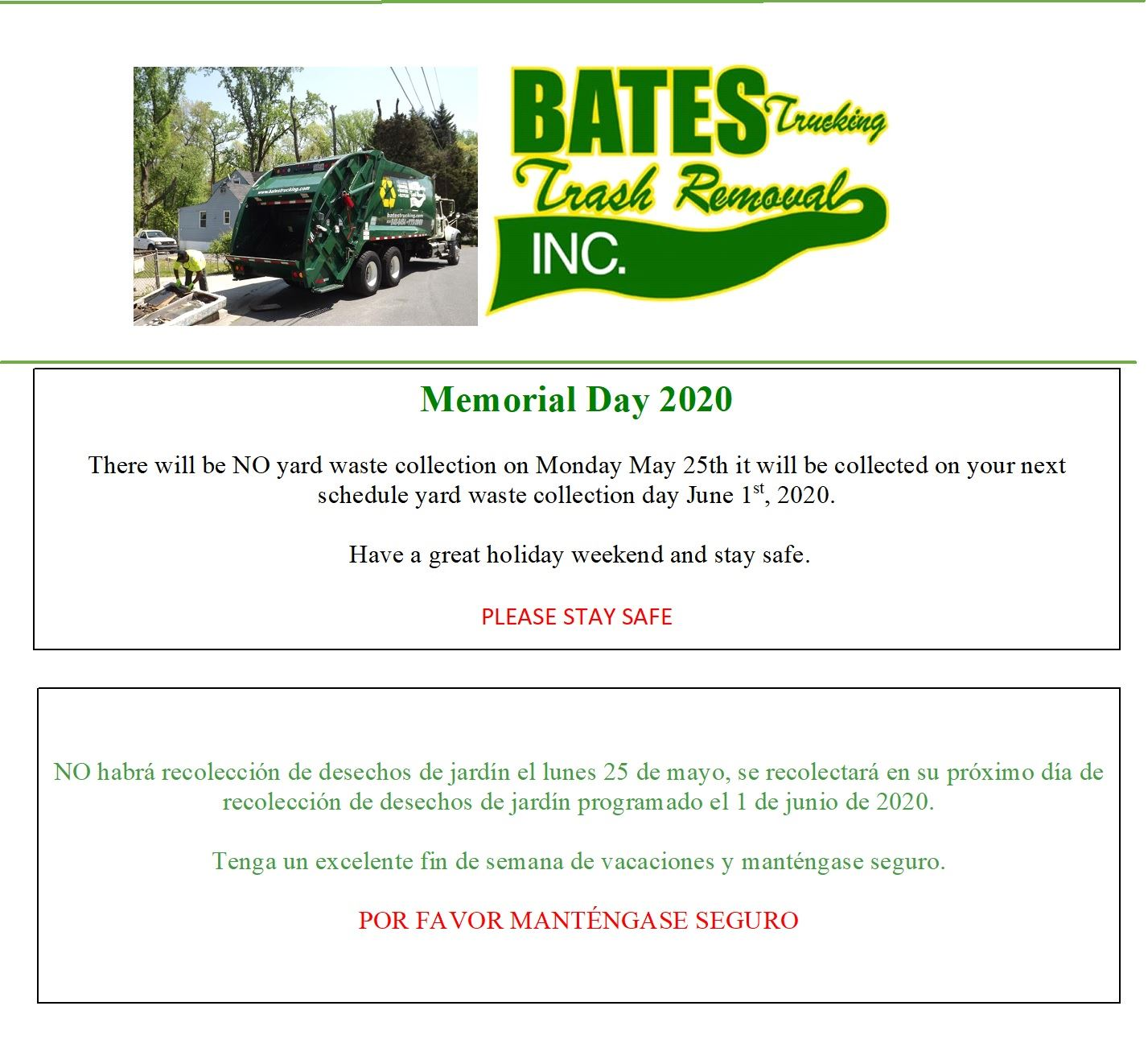 Bates Memorial Day 2020 No pick up