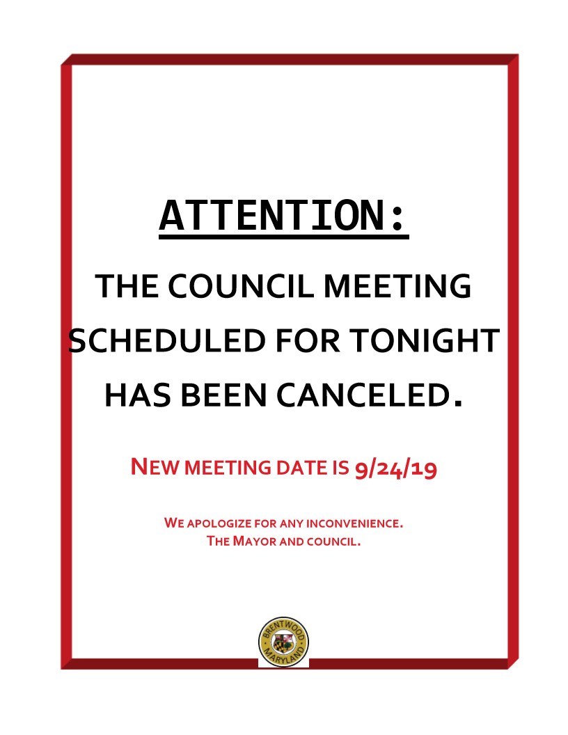 Meeting canceled 9.17.19