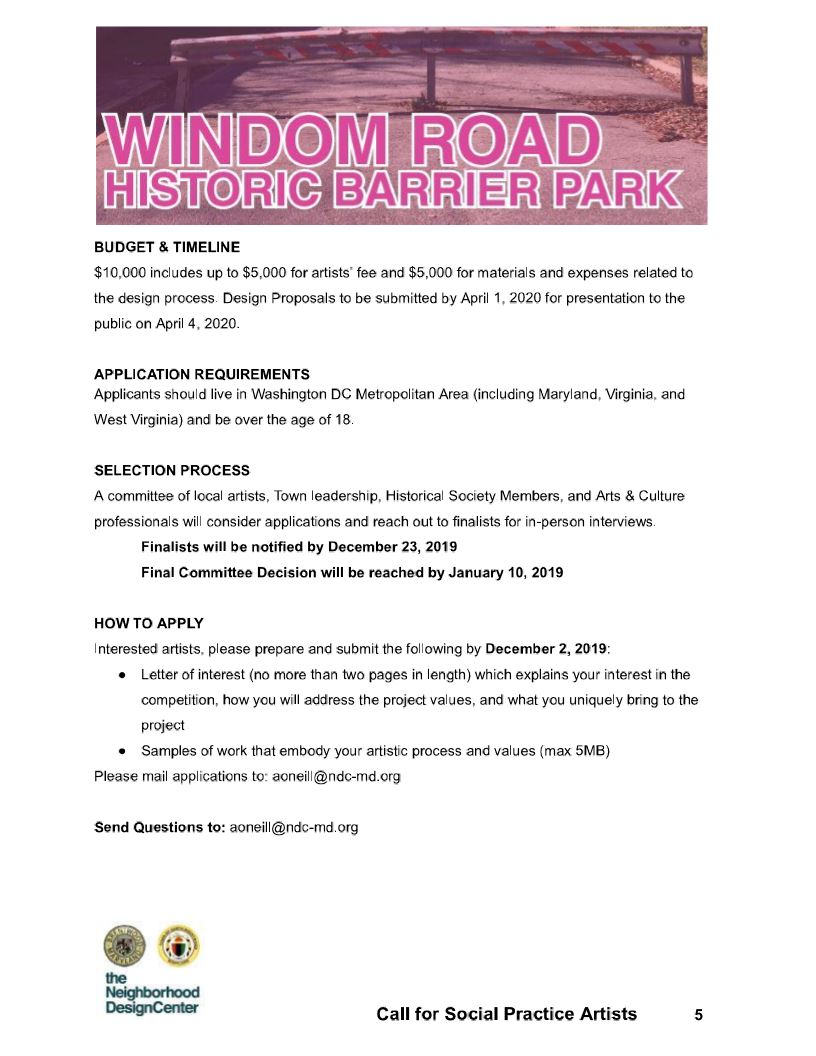 Windom Rd Project Call to Artist