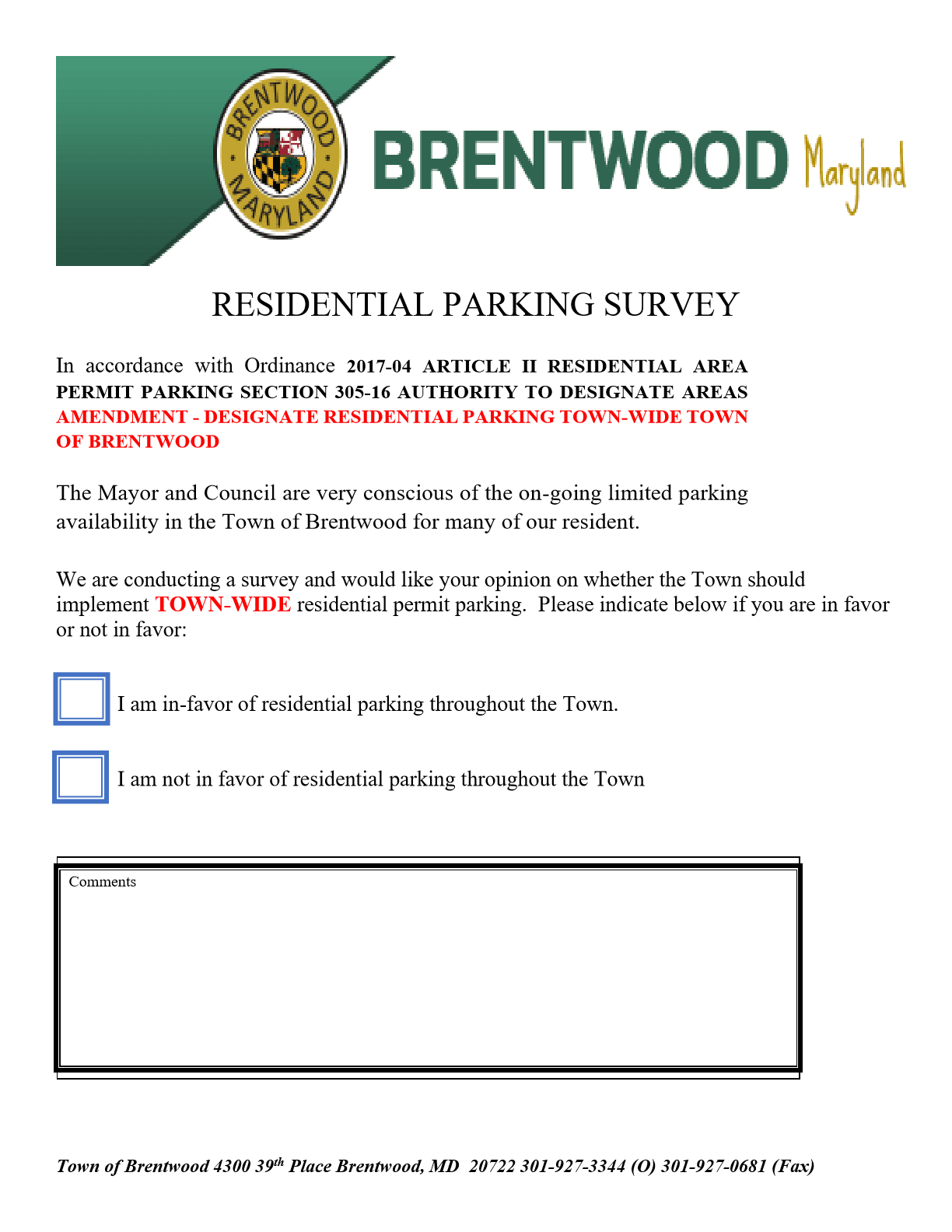 Residential Parking Survey 1