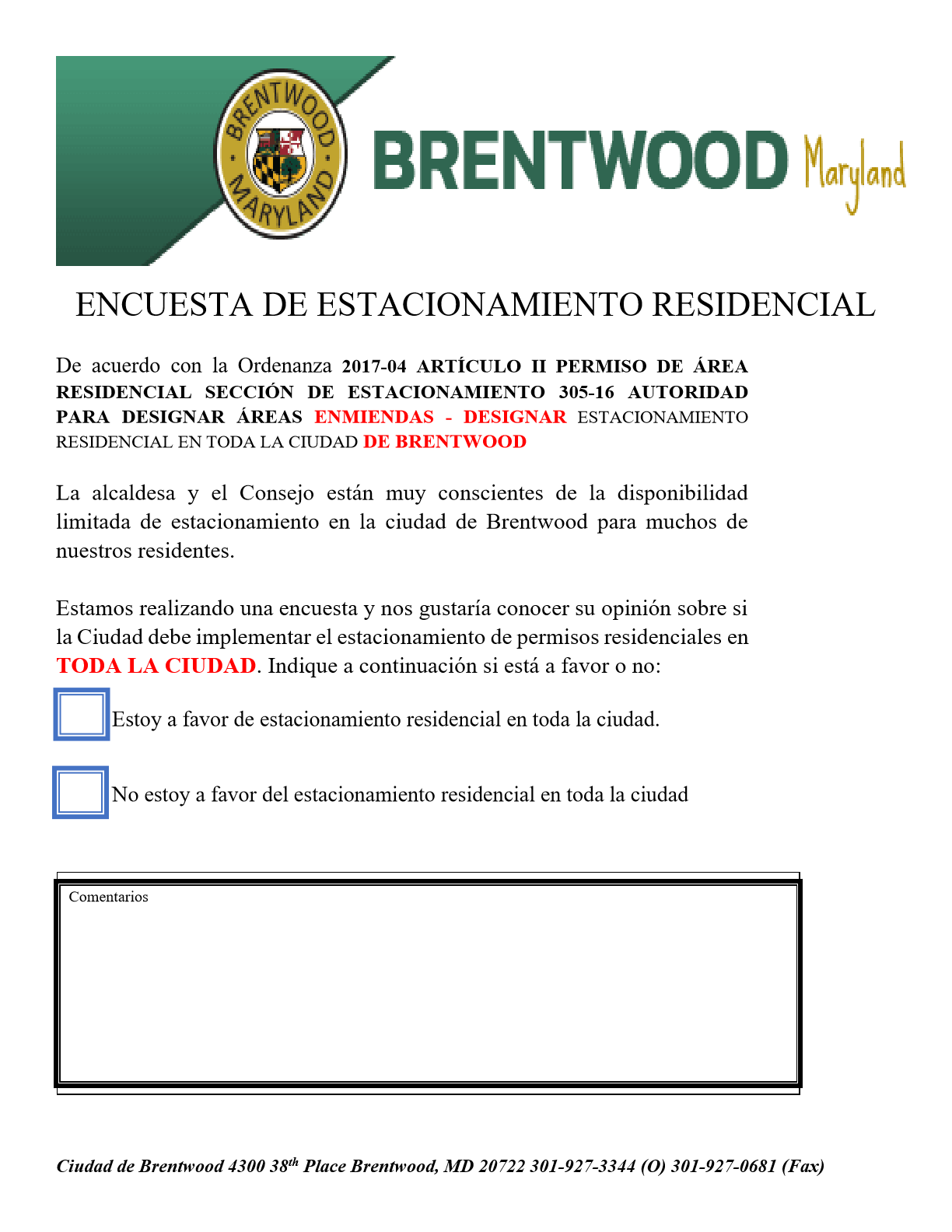 Residential Parking Survey Spanish